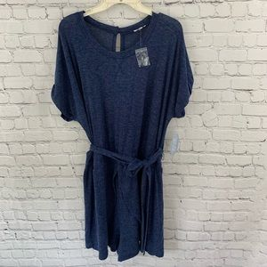 Charming Charlie XL Heather Blue Belted Romper